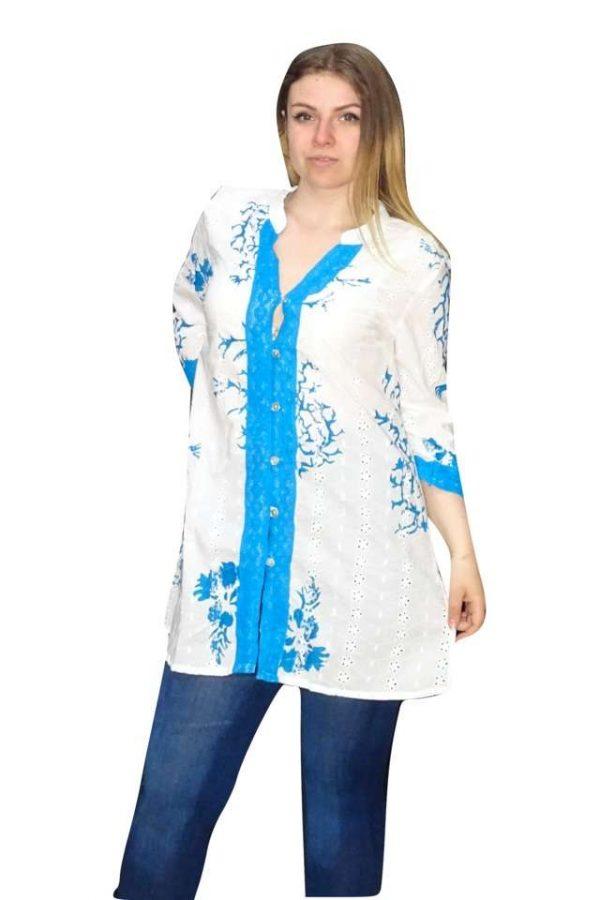 pamut gombos nyári ing kék színben