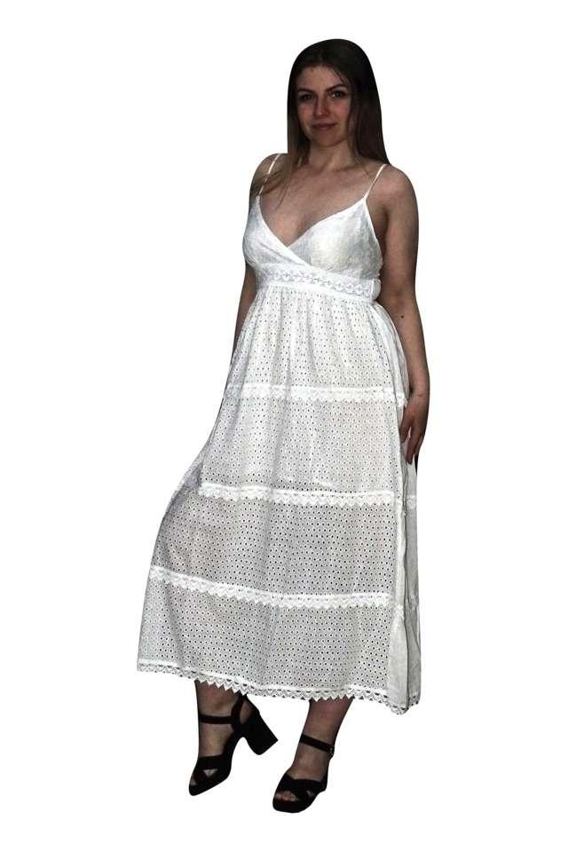 pamut nyári hosszú ruha fehér színben
