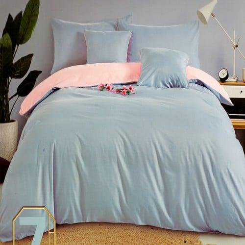 rózsaszín és halvány kék pamut ágynemű