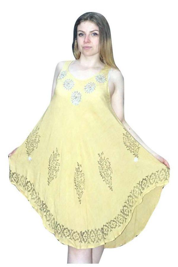sárga és krémszínben rövid nyári ruha