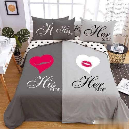 szürke színben szív mintás ágyneműhuzat pároknak