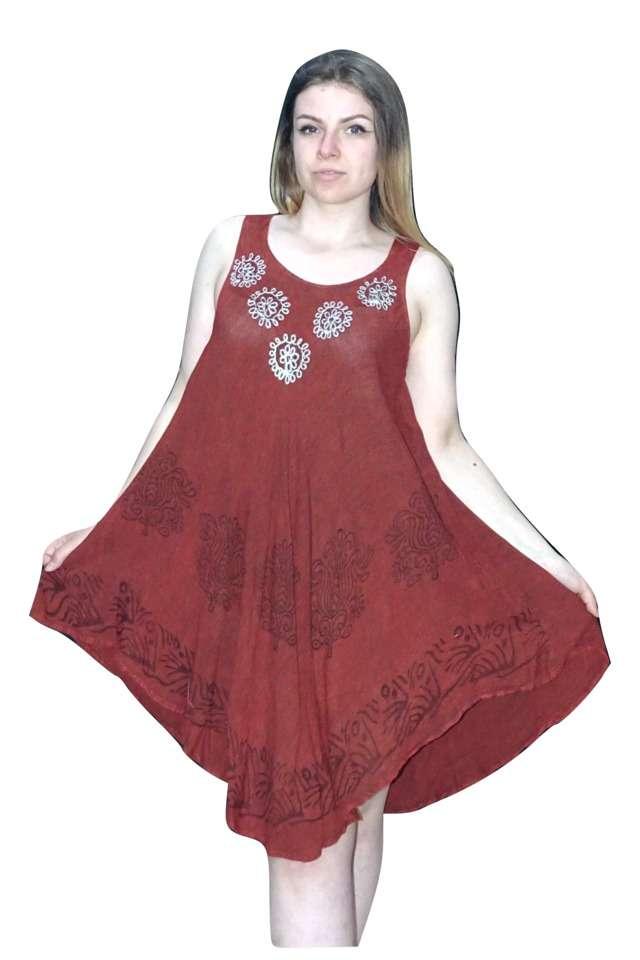 univerzális méretű nyári ruha bordó színben