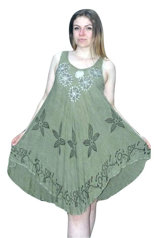 zöld színben rövid nyári ruha indiából