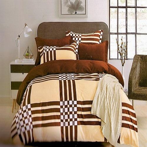 barna és krém szín kockás pamut ágyneműhuzat
