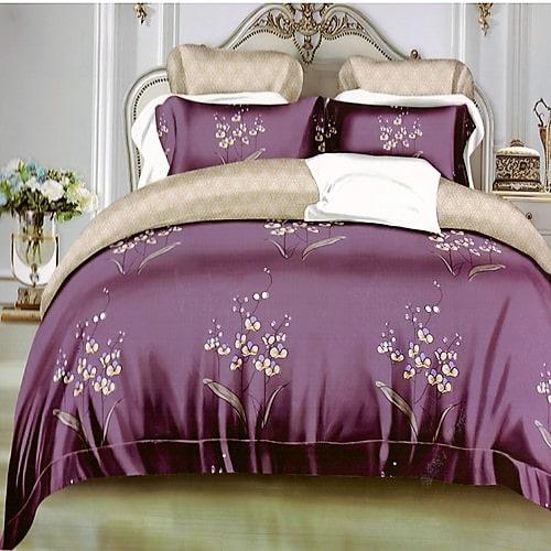 bordó lila és krém színben ágyneműhuzat