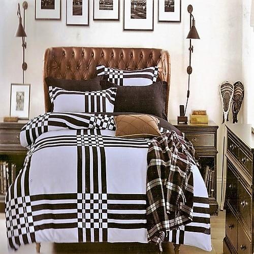 fekete és tört fehér színben pamut ágyneműhuzat