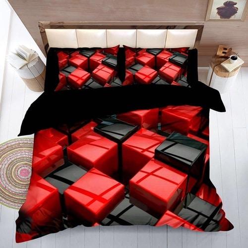 krepp ágyneműhuzat fekete piros kockás minta
