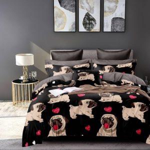 krepp ágyneműhuzat fekete színben kutyus minta