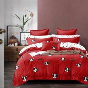 krepp ágyneműhuzat piros színben kutyus minta