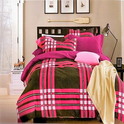 pamut ágyneműhuzat fekete pink kockás mintával