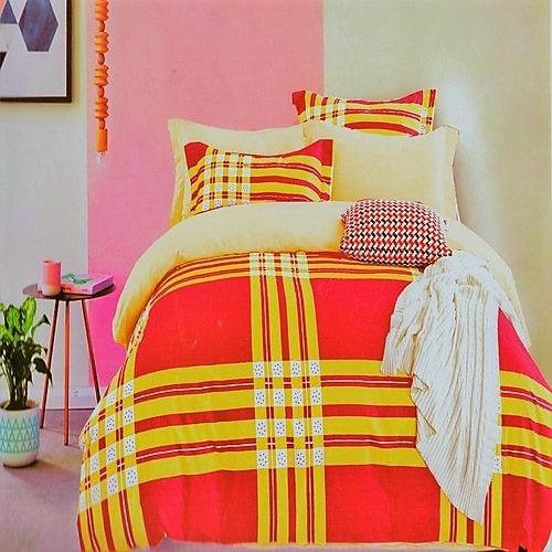 pamut ágyneműhuzat lila és krém színben