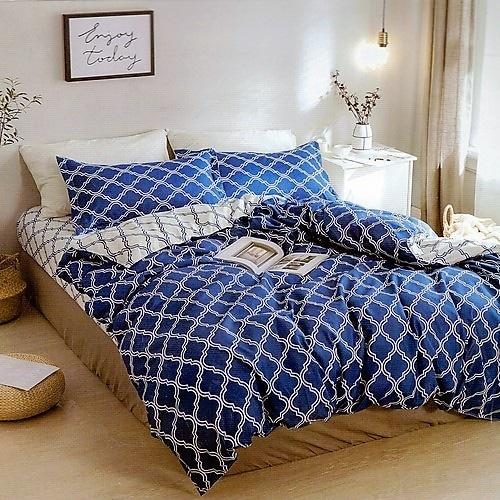 sötét kék és fehér pamut ágyneműhuzat