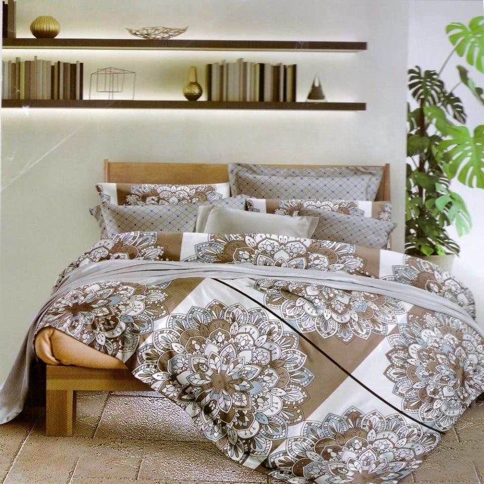 bézs és szürke színben mintás ágynemű