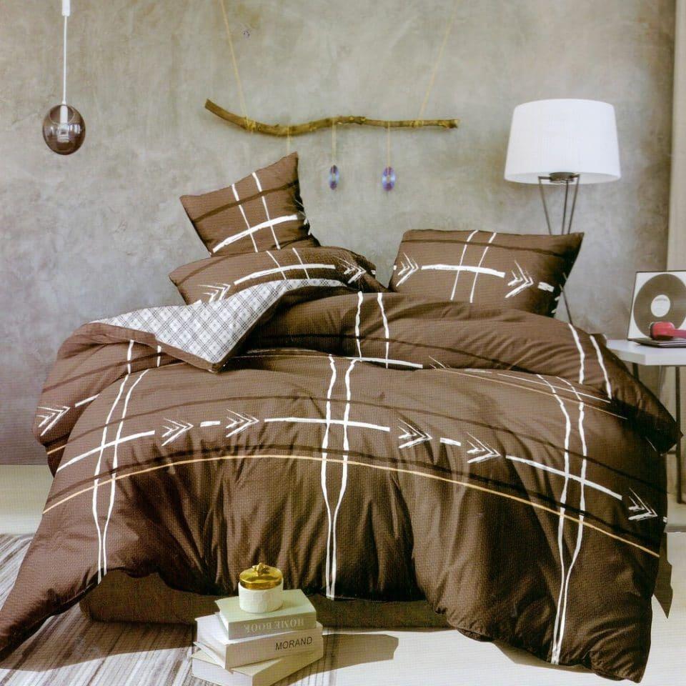 barna színben csíkos kockás pamut ágynemű