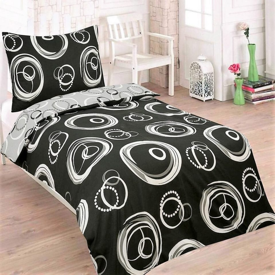fekete fehér karikás minta pamut ágyneműhuzat