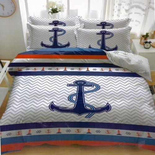 horgony mintés pamut ágynemű fehér kék színben