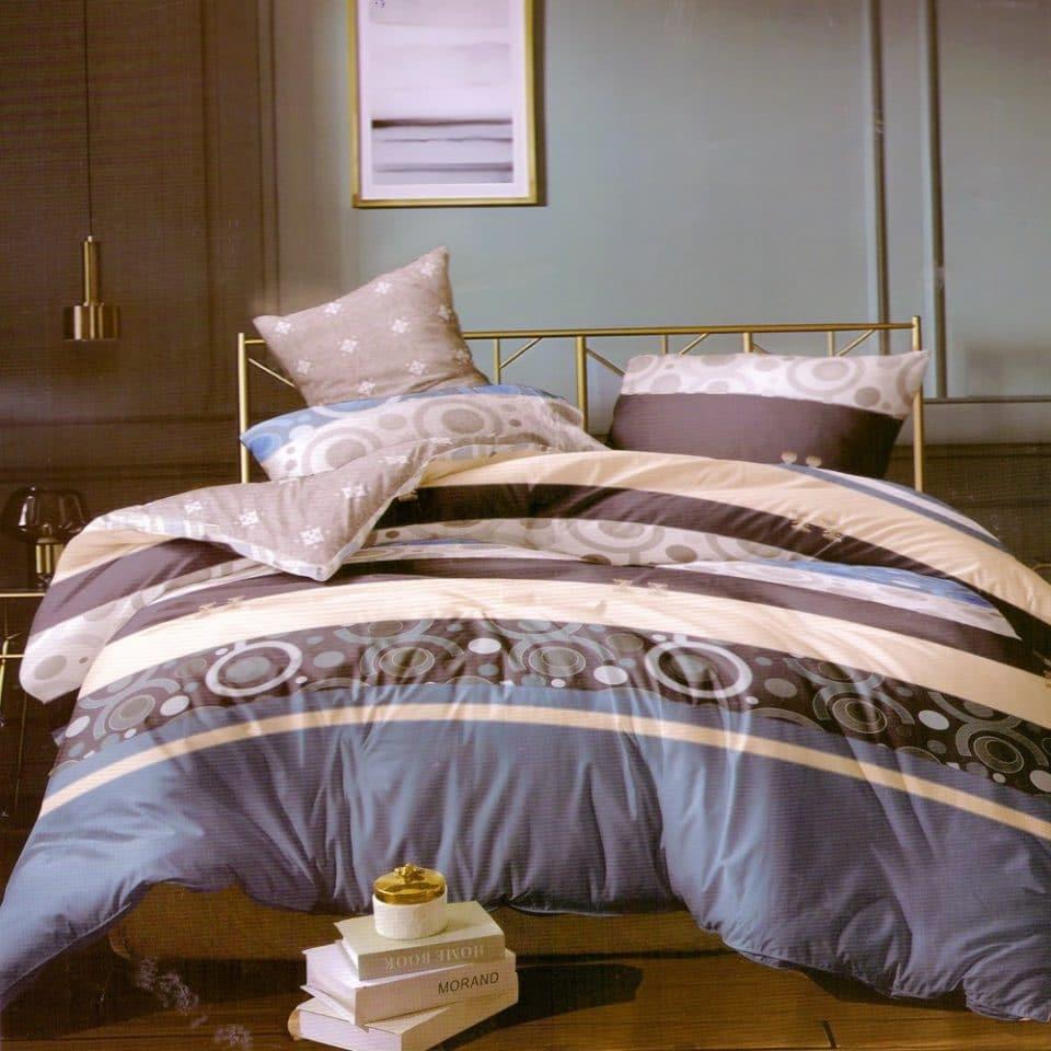 kék csíkos karikás minta pamut ágynemű
