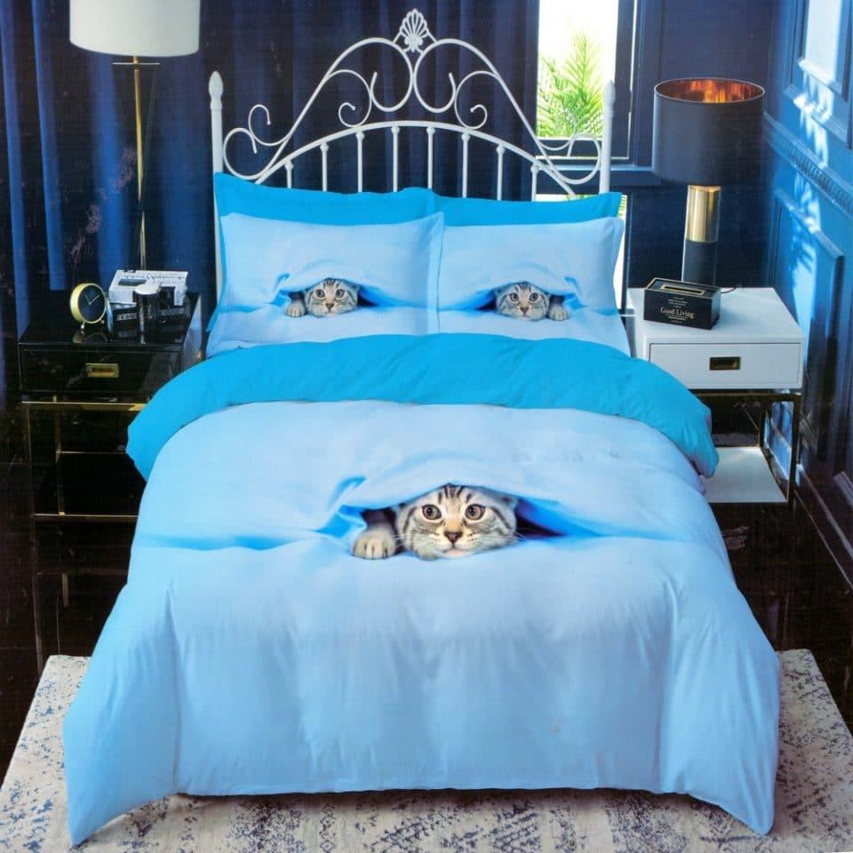 kék színben cica mintás pamut ágyneműhuzat
