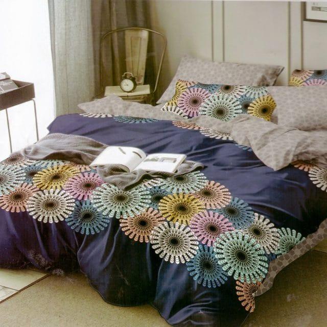 kék színben színes mandala pamut ágynemű