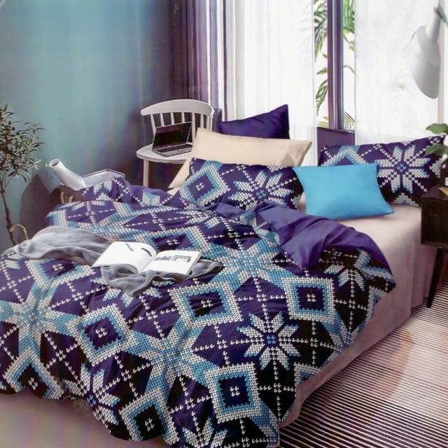 kék színben színes mintás pamut ágyneműhuzat