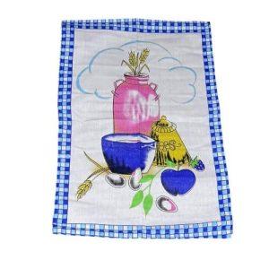 kék kockás kerettel minta pamut konyharuha