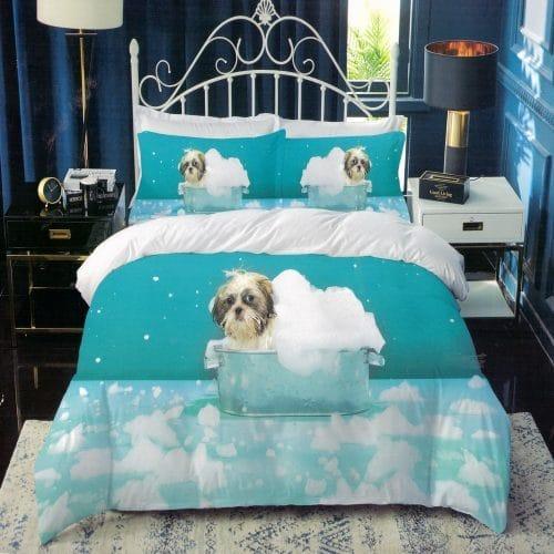 kék színben kutyus mintás pamut ágynemű