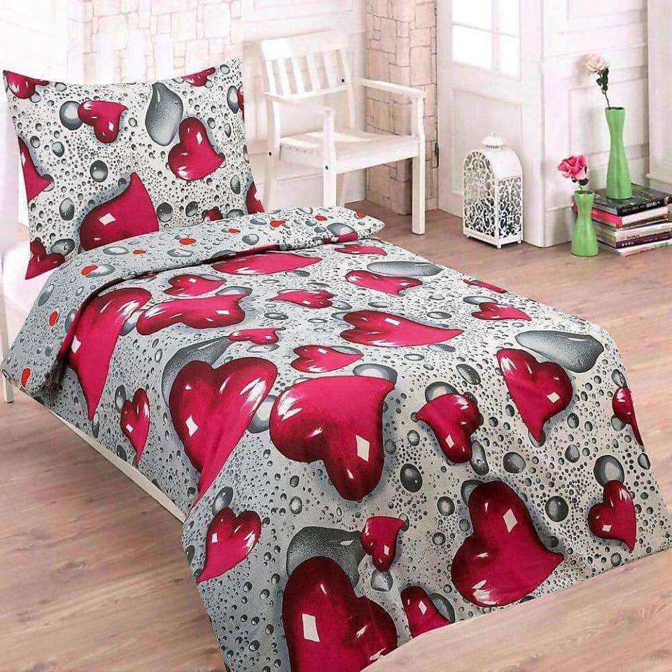 pamut ágynemű szürke színben piros szívvel