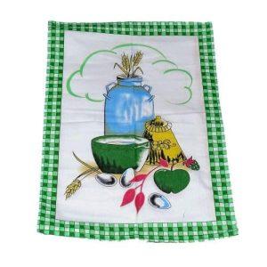 pamut konyharuha zöld kockás kerettel minta