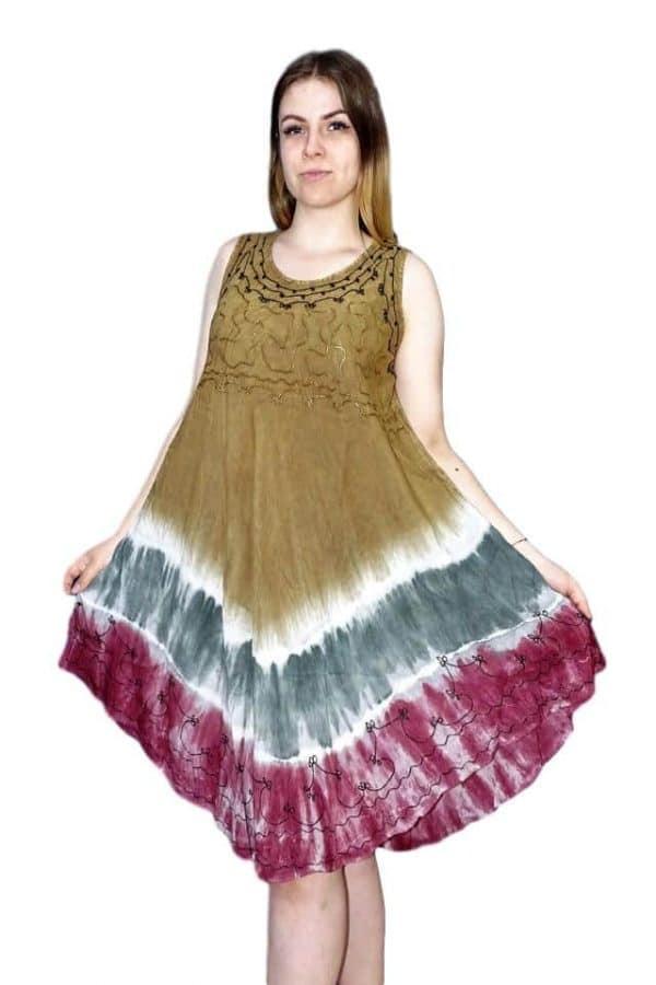rövid nyári ruha indiából egyedi színekkel barna