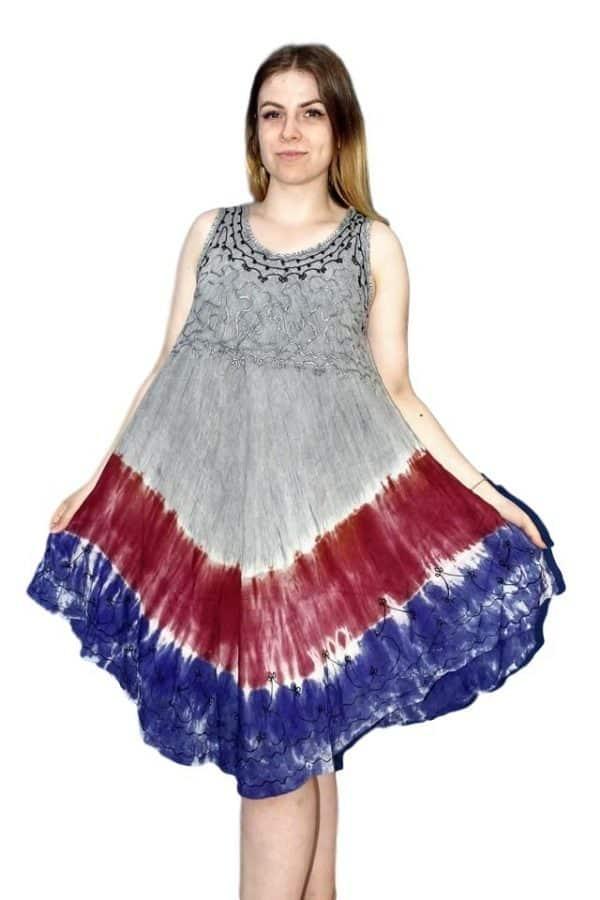 rövid nyári ruha indiából egyedi színekkel bordós
