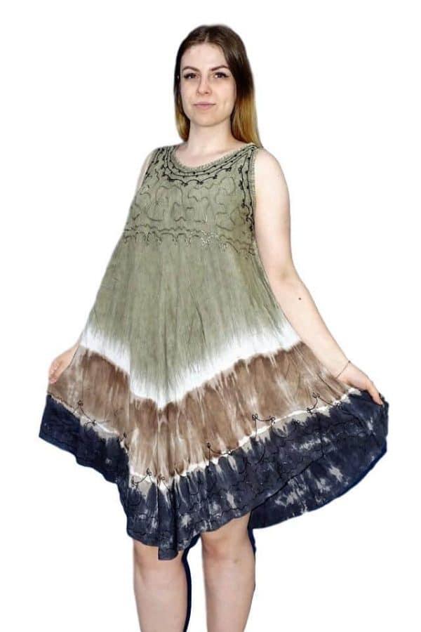 rövid nyári ruha indiából egyedi színekkel drapp