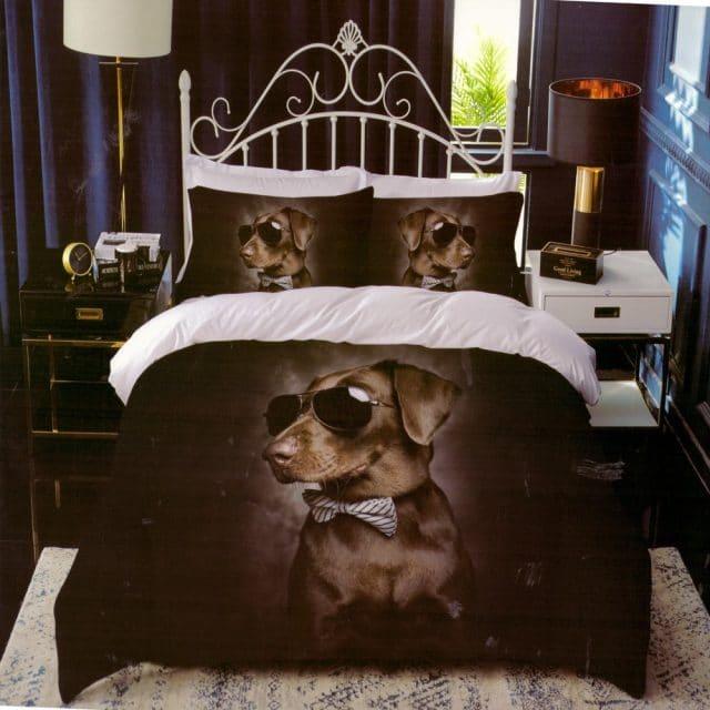 sötét alapon kutyus mintás pamut ágynemű
