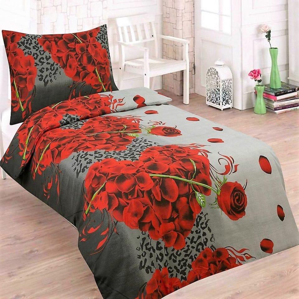 szürke alapon vörös rózsa pamut ágyneműhuzat