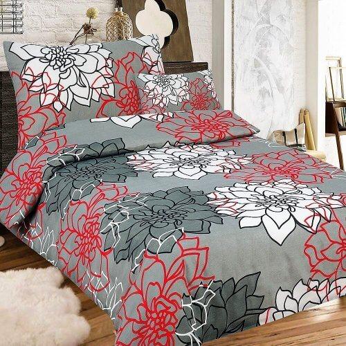 szürke színben virágok minta krepp ágynemű