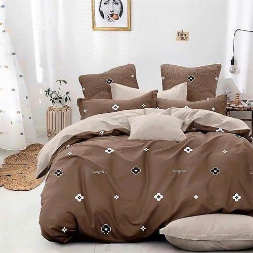 bézs barna színben virágok pamut ágyneműhuzat