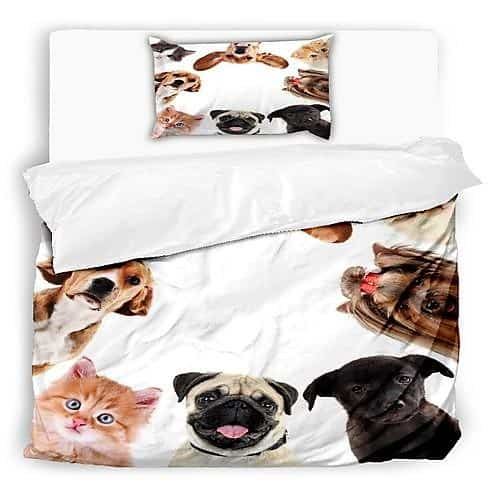 fehér színben állat mintás pamut ágynemű