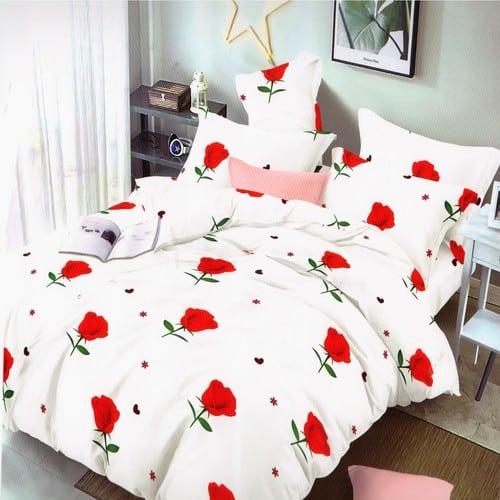 fehér színben rózsa pamut hatású ágyneműhuzat