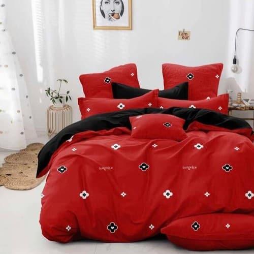 fekete piros apró virágos pamut ágyneműhuzat