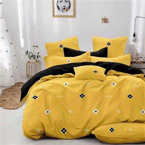 fekete sárga virág mintás pamut ágyneműhuzat