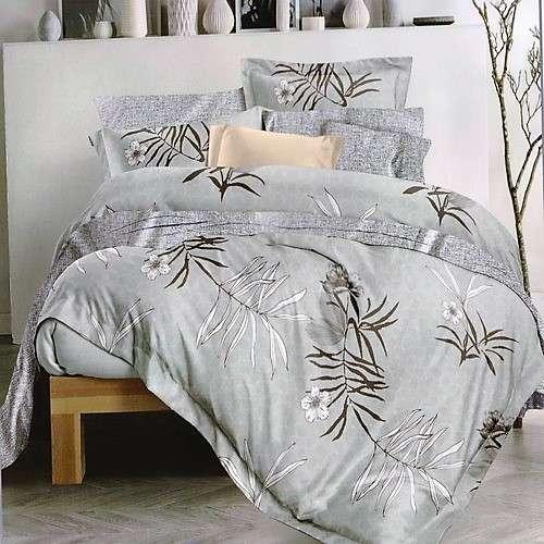 flanel 3 részes ágynemű szürke levelekkel