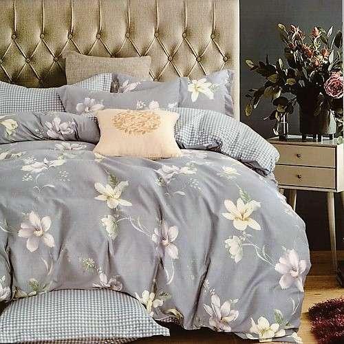 flanel 3 részes ágyneműhuzat kék virágokkal