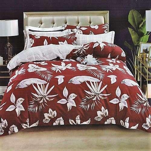 flanel ágynemű piros színben fehér virágokkal