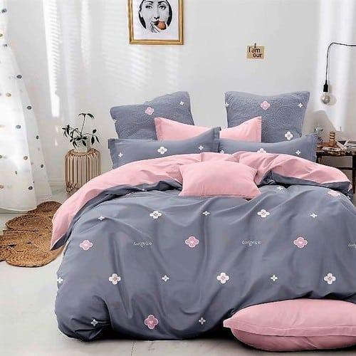 halvány szürke rózsaszín virágos pamut ágynemű