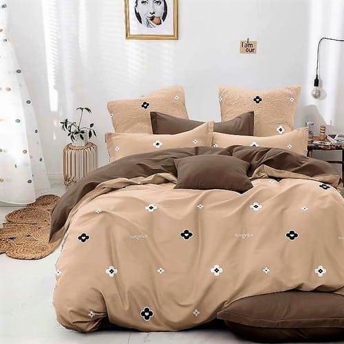 kávé drapp színben virág mintás ágyneműhuzat