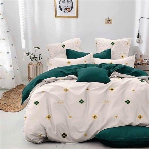 krém zöld virág mintás pamut ágynemű