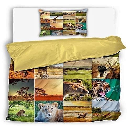 pamut ágynemű kockás vad állat mintával