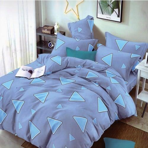 pamut hatású ágyneműhuzat kék színben háromszög