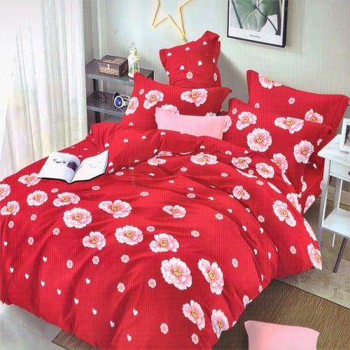 pamut hatású ágyneműhuzat piros színben virágokkal