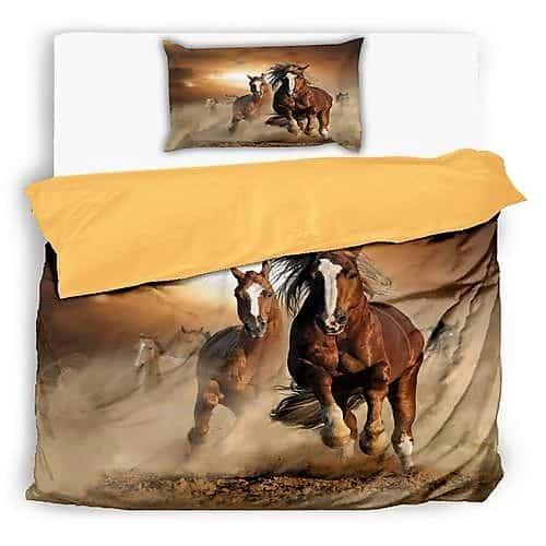 vágtató lovak barna szín pamut ágynemű