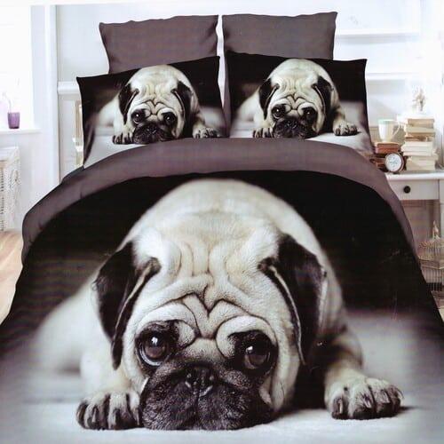 5D mopsz kutya pamuthatású ágyneműhuzat